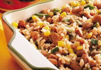سالاد لوبیا چیتی با برنج قهوه ای