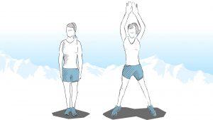 1 . تمرین جامپینگ جکس (Jumping Jacks)